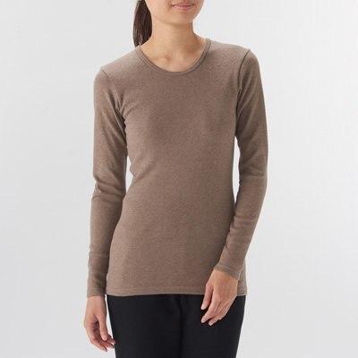 따뜻한 코튼 울 스무스 · 크루넥 긴소매 티셔츠 · 여성