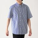 면 서커 스트라이프 · 버튼다운 반소매 셔츠