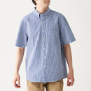 면 서커 체크 · 버튼다운 반소매 셔츠
