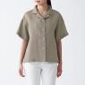 오가닉 리넨 워싱 · 오픈칼라 반소매 셔츠 상품이미지