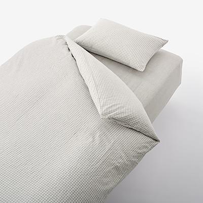 이불 커버 세트 · 침대용 · S · 깅엄 체크 · 재생 코튼 혼방